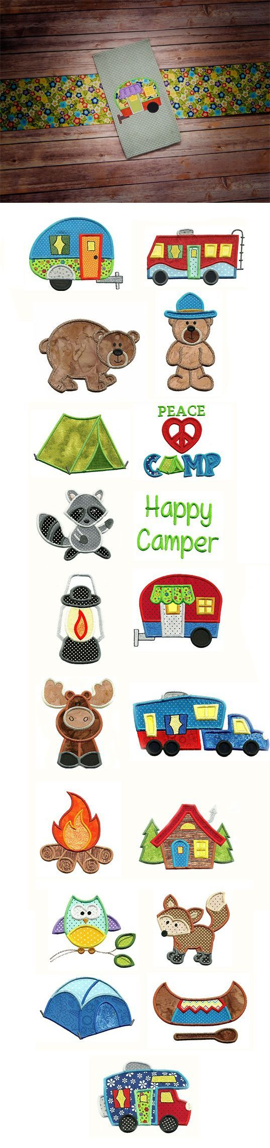 Go Camping Applique design set available for instant download at designsbyjuju.com