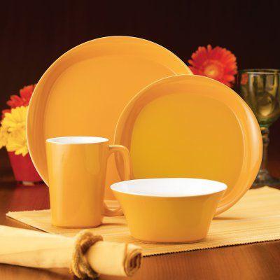 Rachael Ray Round and Square Yellow Dinnerware - Set of 4 - 58148
