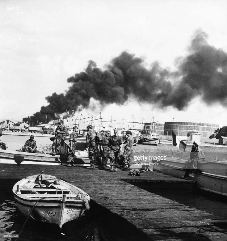 Occupation du port par les troupes françaises, à Port-Saïd, Egypte, le 12 novembre 1956.