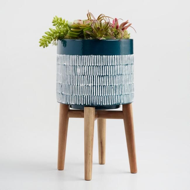 Dark Turquoise Ceramic Planter With Wood Stand Ceramic Planters Modern Plant Stand Planters