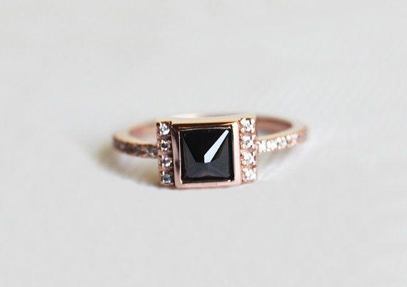 Bague de fiançailles en or rose Or Rose diamant noir par MinimalVS