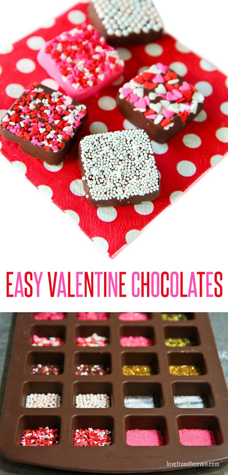 Easy chocolates for Valentine's Day!  Such a great idea, put different sprinkles in each part of the mold and you have a fabulous variety of candies!  Love this!  Great for Valentine's Day.