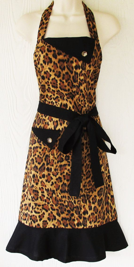 Leopard Print Apron Animal Print Apron Womens Full by KitschNStyle