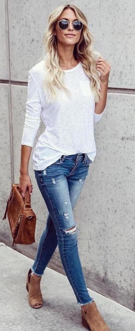 #fall #outfits women's white long-sleeved shirt and blue jeans