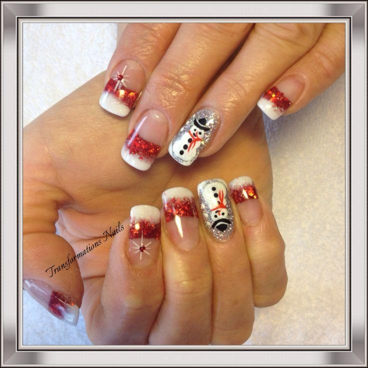 #freehand #christmas nails #snowman #red white nails #nail art #shine #fancy nail.
