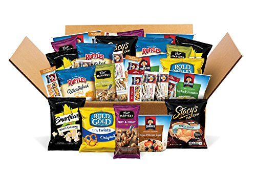 Office Pack Variety Box of Quaker Instant Oatmeal Nut Harvest Nuts Stacys Pita Chips Smartfood Popcorn Rold Gold Pretzels Ruffles Potato Chips And More 30 Count Mix Pack of 30 *** Click image for more details.