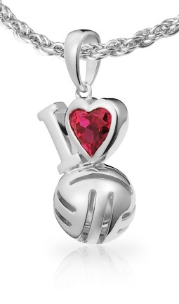 I Love Volleyball Pendant - show your love for volleyball. #volleyball #jewelry £30.00
