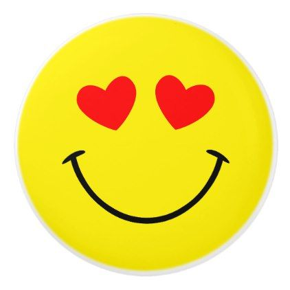 Red Hearts Yellow Smiley Face Ceramic Knob - girly gift gifts ideas cyo diy special unique