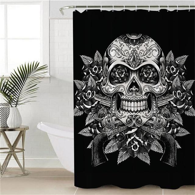 Bedding Outlet Floral Sugar Skull Shower Curtain With Hooks Flowers Sugar Skull Shower Curtain Skull Shower Curtain Sugar Skull