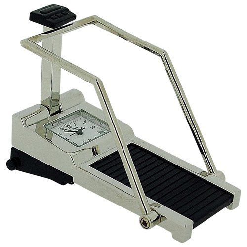 Miniature Treadmill Novelty Quartz Movement Collectors Clock - Silver Tone 9719