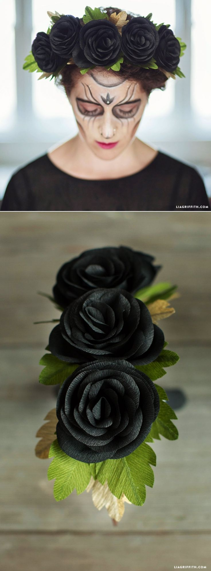 #blackrose #Halloween #dayofdead #crepepaper #paperflower #crepepaperrevival www.LiaGriffith.com