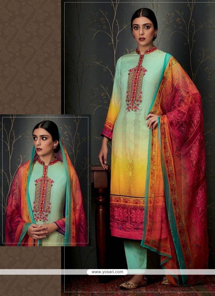 Floral Print Work Pashmina Multi Colour Designer Straight Salwar Suit Model: YOS7963