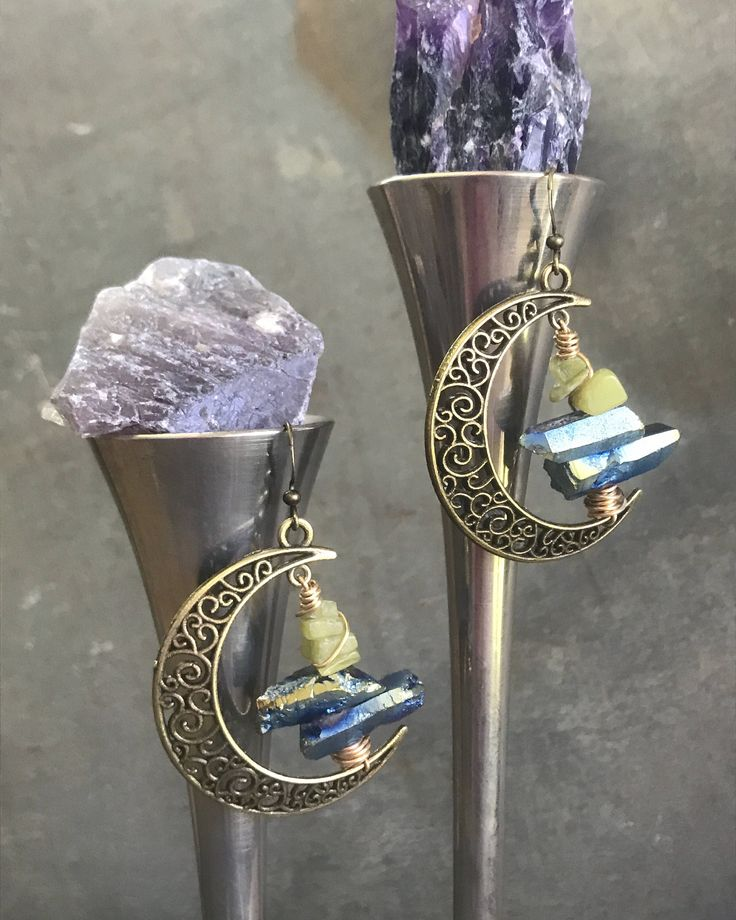 Raw Titanium Druzy & Peridot Asymmetric Bronze Moon Hoop Earrings by Adrienne Adelle - BohoChic Earrings - Bohemian Style - Healing Crystals adrienneadelle.com