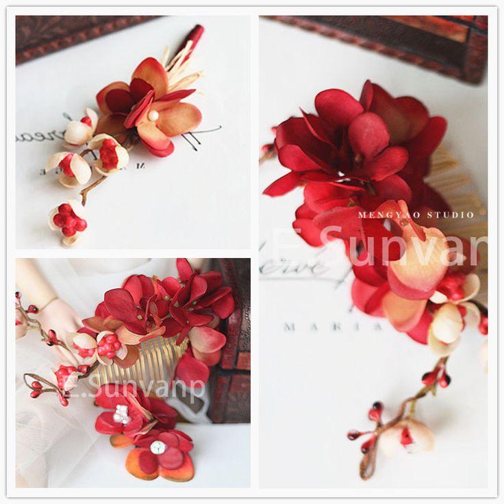 中國風中式禮服紅色頭花做舊仿真絹花新娘頭飾 新郎胸花套裝獨家-淘宝网全球站