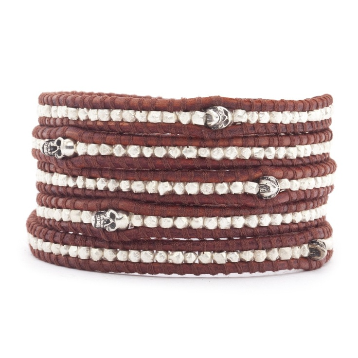 "le bracelet 5 rangs Chan Luu ""Skull"" #Sterling #Silver #Wrap_Bracelet #Turkey_Red_Leather #accessorize #style #trend #rock #Perrydelarosa #Nice_france #french_riviera #musthave"