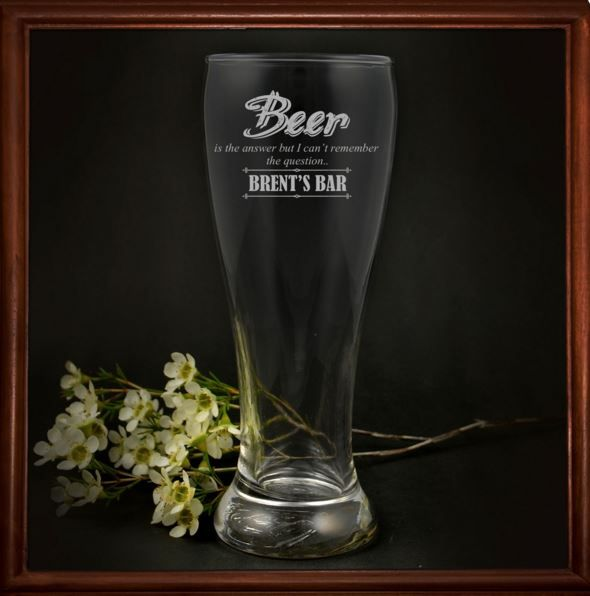 What better way to celebrate your love of beer than with your very own personalised 425ml beer glass. Show off your schooey, liquid gold or daddy's milk in an engraved beer glass that is no doubt any mans delight!  Our stylish 425ml beer glass is the perfect accessory for your man cave.