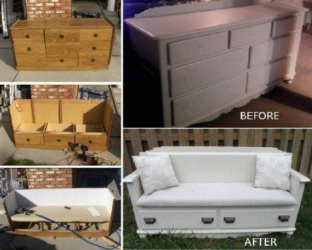 100 Ways to Repurpose and Reuse Broken Household Items Make A Beautiful Bench From That Broken Dresser This is a great project for dressers that have several broken drawers. While you may want a couple of the drawers to work properly for use on the bottom, the rest of the dresser is basically removed to create the bench. You can then use the bench at the foot of your bed or even on a deck if you need additional outdoor seating.