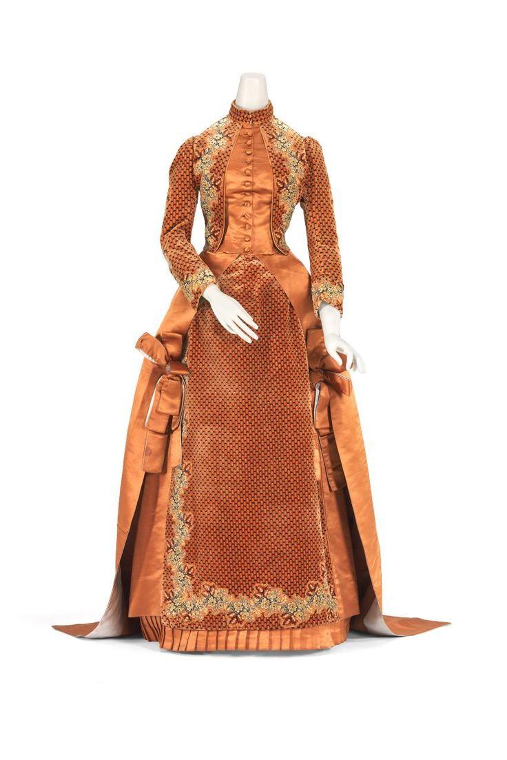 Afternoon dress; 1884; Worth; silk (satin, cut velvet).