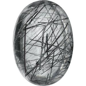 14x10mm Oval Cabochon AA Tourmalinated Quartz