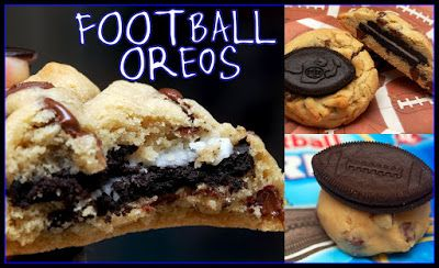 ARE YOU READY FOR SOME FOOTBALL??? OPENING GIANTS GAME TONIGHT….AT LEAST, THAT'S WHAT MY HUSBAND TOLD ME! FOOTBALL OREOS STUFFED INSIDE CHOCOLATE CHIP COOKIES-YUM! GO GIANTS!!!!! 2 sticks soft butter3/4 Cup packed light brown sugar1 Cup sugar2 large eggs1 Tablespoon vanilla3 1/2 Cups all purpose flour1 tsp. kosher salt1 tsp. baking soda10 oz chocolate chips1 …