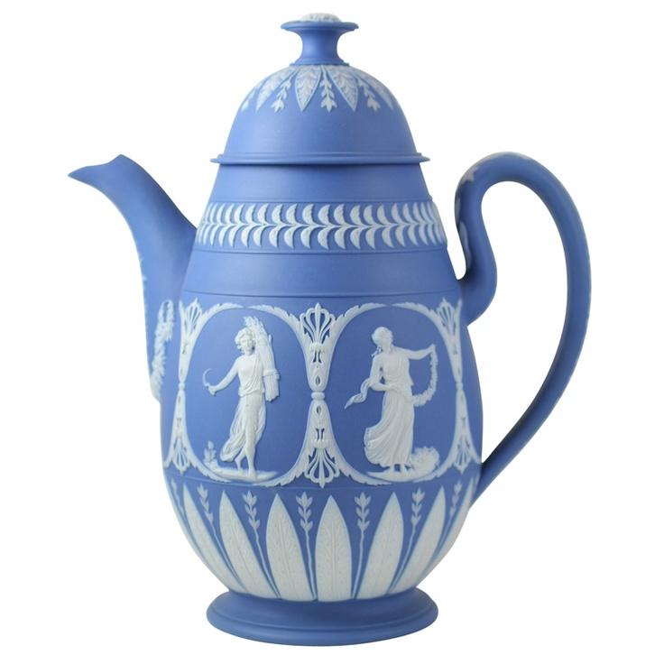 TITLE: Adams Blue and White Jasper Coffee Pot   CREATOR: William Adams    COUNTRY: England    CREATION DATE: circa 1790