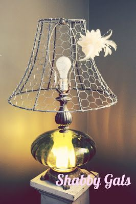 372 best lampshades repurposing and upcycling images on shabby gals chicken wire lampshade a perfect summer lampshade painted white or navy for on top of china cabinet keyboard keysfo Choice Image