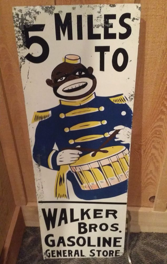 5 Miles to Walker Bros. Gasoline General Store Antique Metal Sign Monkey Drum