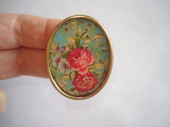Rose Flowers Vintage Jewelry Gold tone Brooch KL by sanibelsands, $14.99