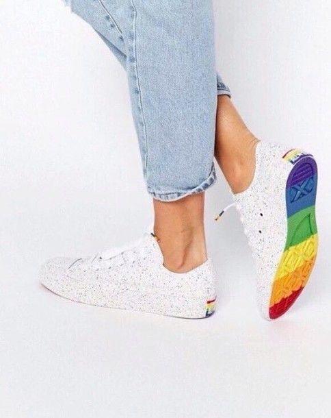 Shoes: rainbow lgbt converse all star allstars allstar flag white sneakers multicolor