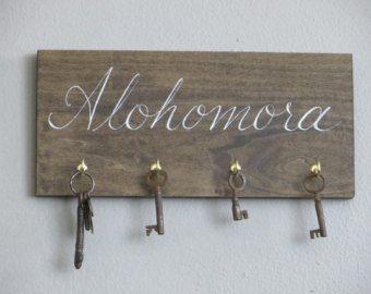 hand painted HARRY POTTER alohomora spell key rack holder sign house warming gift