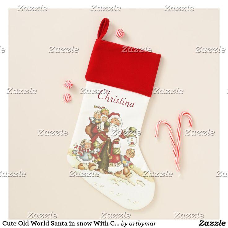 Cute Old World Santa in snow With Children Lantern Christmas Stocking