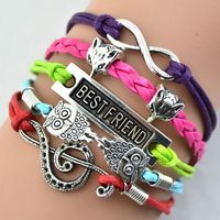 4 шт. шикарный шарм лучший друг двойные совы бесконечности кожаные браслеты многослойные плетеные браслеты ювелирные изделия браслет друг подарок