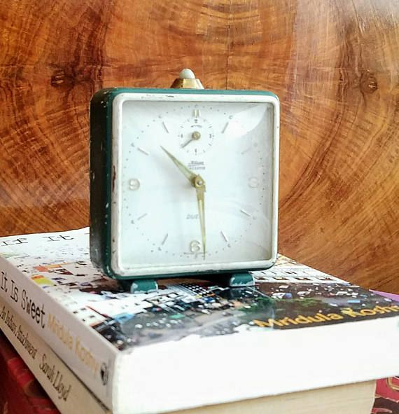 Rustic French Industrial Alarm Clock - Hipster Dad - Vintage Alarm Clock - Metal Table Clock - Office Staging - Masculine Interior Design