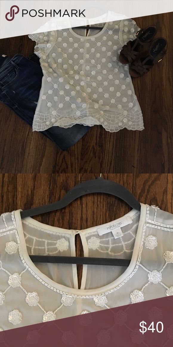 "White beaded top From Piperlime (remember Piperlime??  From the Gap company?!?  I miss that site...) size M. Great condition. 19.5"" underarm and 24.5"" long (flat measurements). Great with black velvet pants too...or leather leggings!!  Sheer and needs an under camisole/tank. Scalloped hem. Tops"
