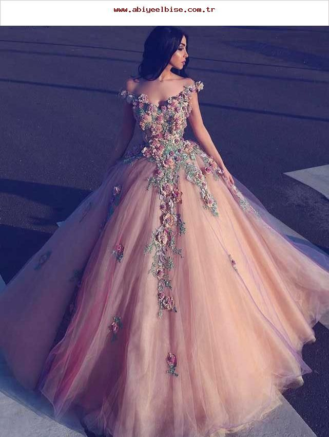 Champagner aus Schulter Tüll langes Abendkleid, Tüll Champagner Abendkleid