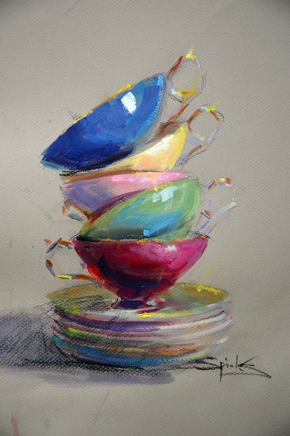 Cup Runneth Over. Still life by JohannaSpinksFineArt on Etsy. Tea cups balancing on a stack of dishes. Item no longer available.
