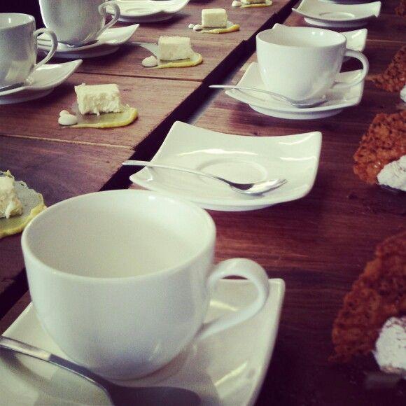 Mother's day brunch.  Jasmine Tea cheesecake with liquorice ganache & liquorice meringue. Coffee chocolate ganache,  espresso cream, whisky jelly & black sesame seeds tuile