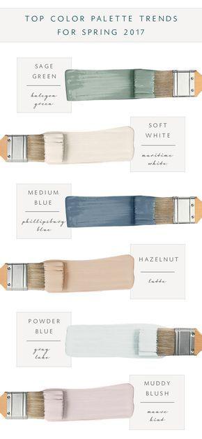 2017 top paint palette: Sage Green: Halcyon Green (SW) Soft White: Maritime White (BM963) Medium Navy Blue: Philipsburg Blue (BM159) Hazelnut: Latte (SW-6108) Powder Blue: Gray Lake (BM2138-70) Mauve Hint: (?)
