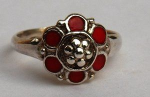 MARIA FLOWER RING RED