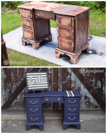 Navy Nursery Furniture project - repurposed by FunCycled www.funcycled.com:
