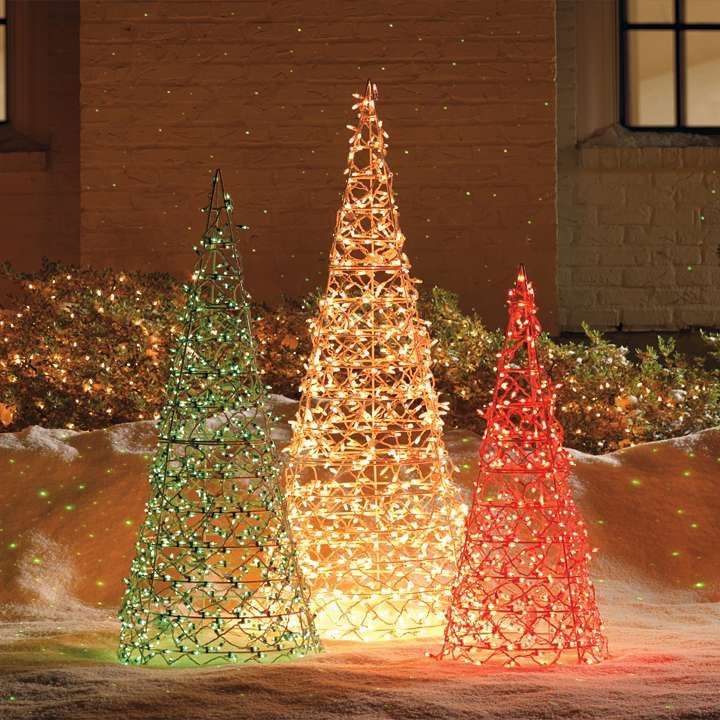 Lighted Cone Trees red white green