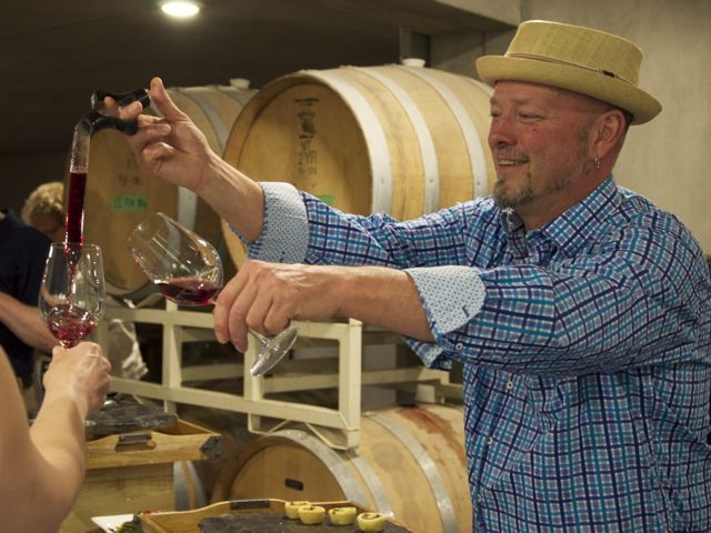 blue grouse bailey williamson pours 2013 pinot noir from the barrel. Read More: http://tastingroomconfidential.com/new-blue-grouse-winery-takes-flight/