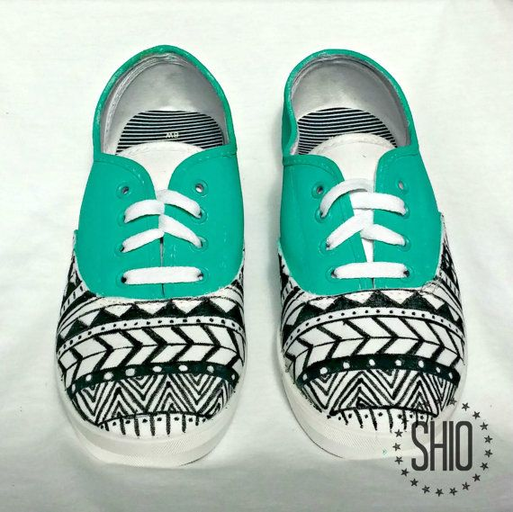 Hand Painted Shoes Hand Painted Aztec Shoes Blue by SHIOtheStore