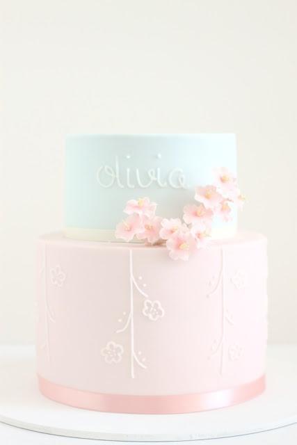 hello naomi - christening - christening cake - cherry blossom cake