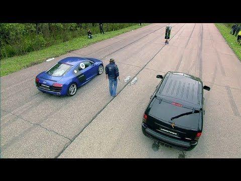 Audi R8 V10 vs Jeep Grand Cherokee SRT-8 vs Nissan GT-R MK.1 (Switzer R850) vs BMW X6 M