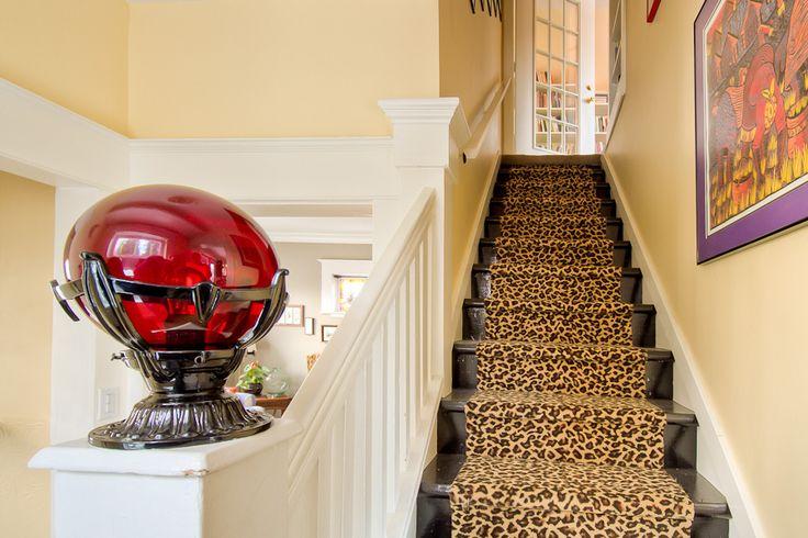 Best Animal Print Runner On Black Stairs Stair Runner Stairs 400 x 300