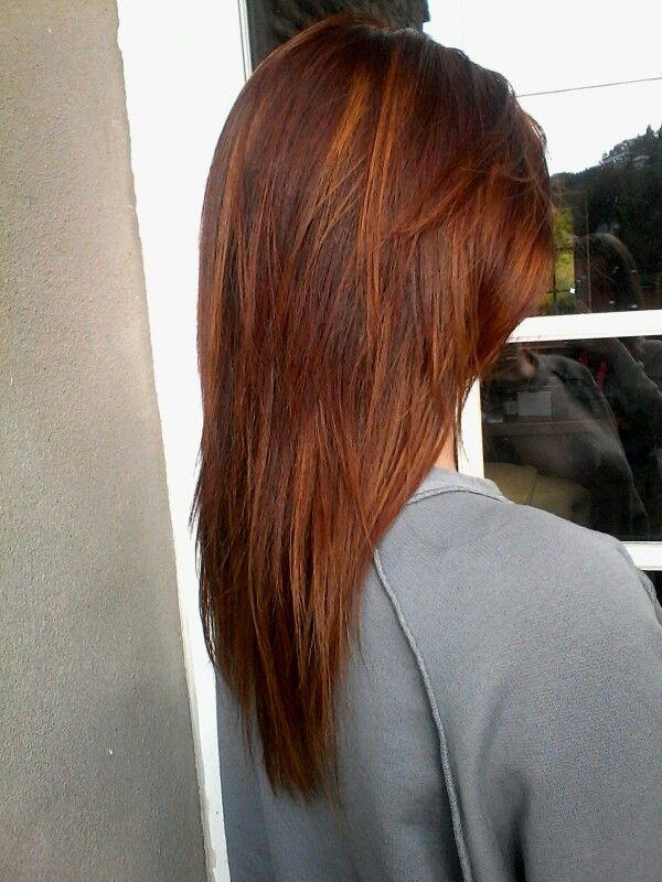 Couleur de base acajou cuivre avec meches blond miel - Coloration roux cuivre ...