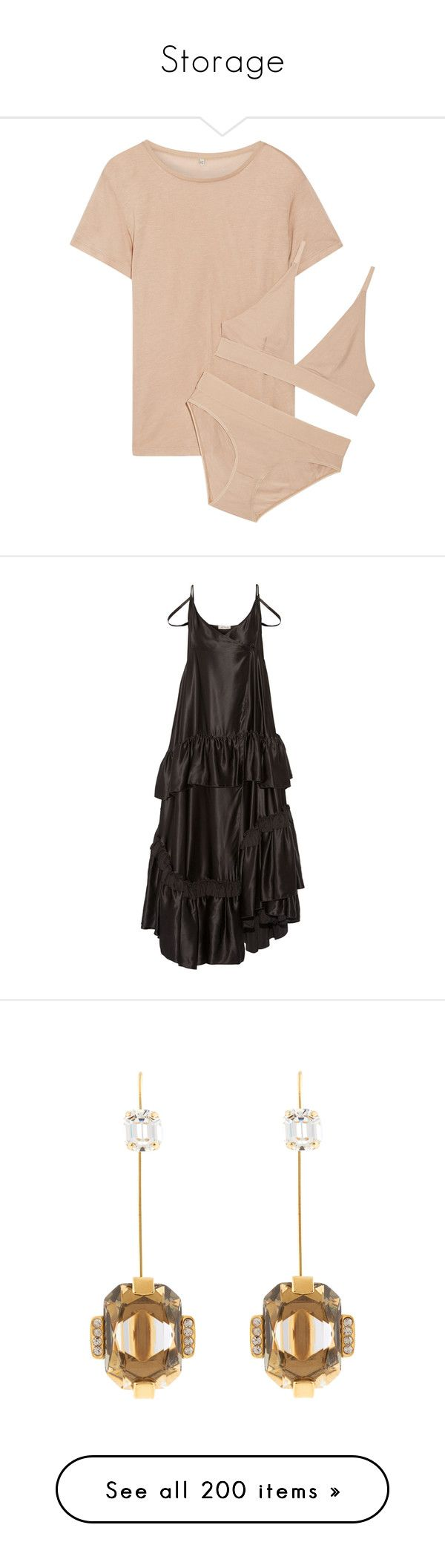 """""""Storage"""" by amberelb ❤ liked on Polyvore featuring intimates, lingerie, dresses, black, silk satin dress, loose fit dress, loose dresses, maxi length dresses, loose fitting maxi dresses and jewelry"""