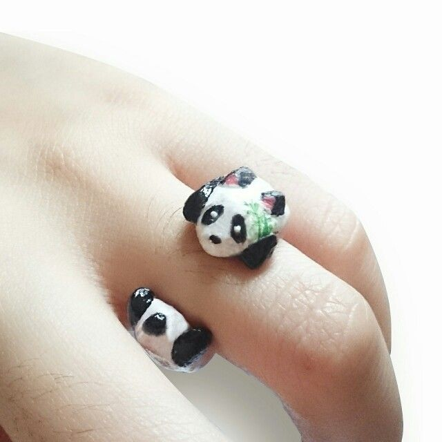 Panda clay ring  Instagram : @qmjft Email : iqmjft@gmail.com