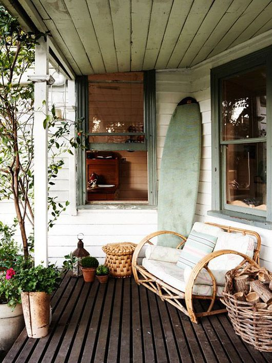 surf shack porch with bamboo sofa. / sfgirlbybay